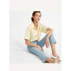 Everlane Button Front Yellow Stripe Shirt 10
